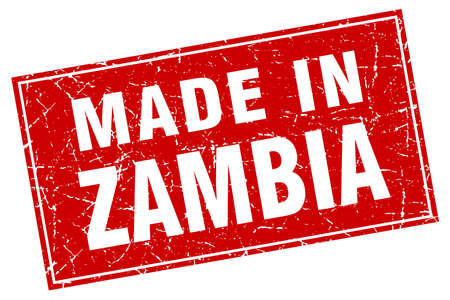 zambia: Zambia red square grunge made in stamp Illustration