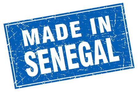senegal: Senegal blue square grunge made in stamp