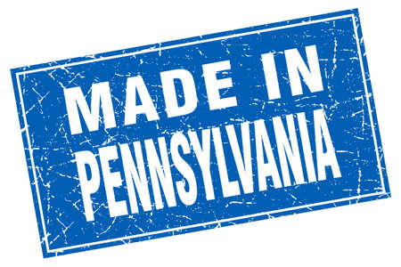 pennsylvania: Pennsylvania blue square grunge made in stamp
