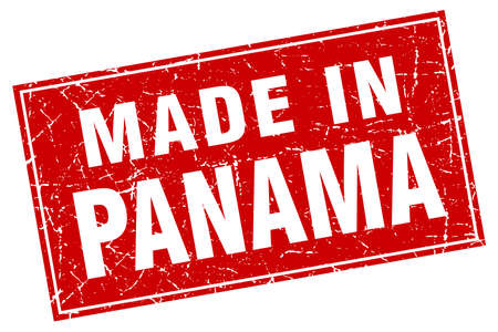 made in: Panama red square grunge made in stamp Illustration