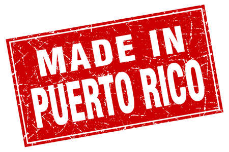 rico: Puerto Rico red square grunge made in stamp Illustration