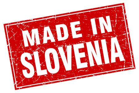 made in: Slovenia red square grunge made in stamp