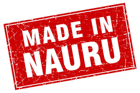 nauru: Nauru red square grunge made in stamp