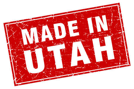 made in: Utah red square grunge made in stamp