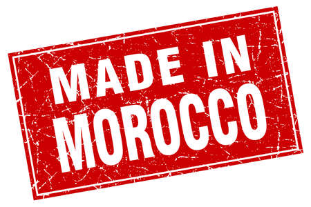 made in morocco: Morocco red square grunge made in stamp