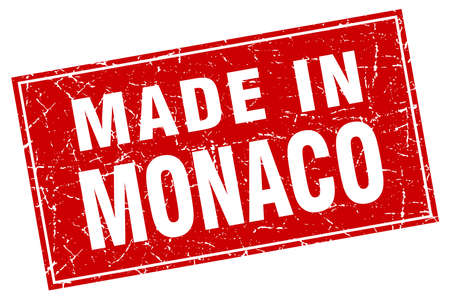 made in: Monaco red square grunge made in stamp Illustration