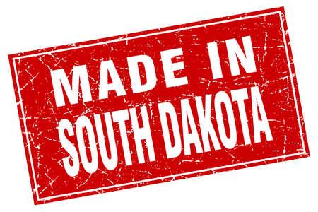south dakota: South Dakota red square grunge made in stamp Illustration