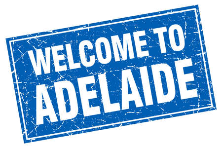 adelaide: Adelaide blue square grunge welcome to stamp