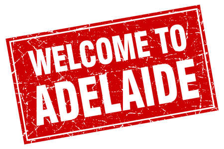 adelaide: Adelaide red square grunge welcome to stamp