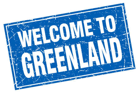 greenland: Greenland blue square grunge welcome to stamp