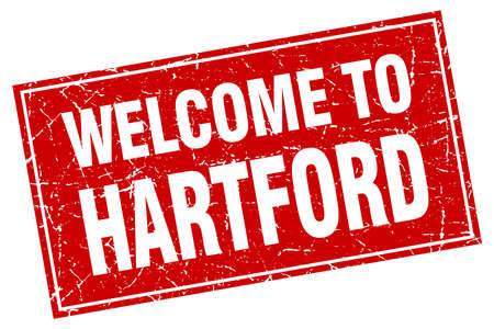 hartford: Hartford red square grunge welcome to stamp