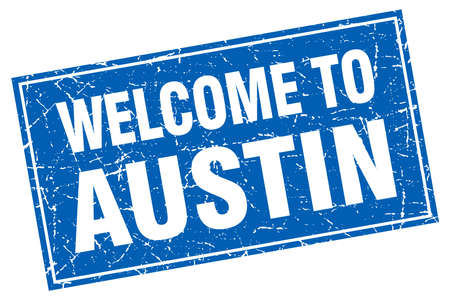 austin: Austin blue square grunge welcome to stamp Illustration