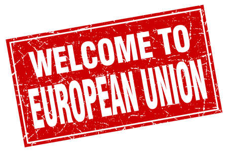 european union: european union red square grunge welcome to stamp