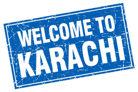 karachi: Karachi blue square grunge welcome to stamp