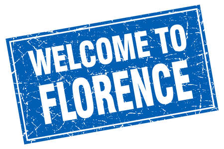 florence: Florence blue square grunge welcome to stamp Illustration