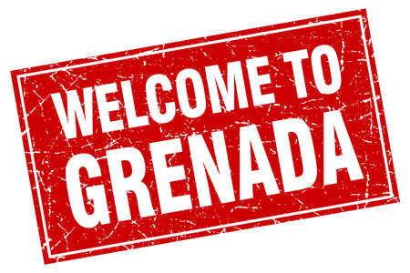 grenada: Grenada red square grunge welcome to stamp