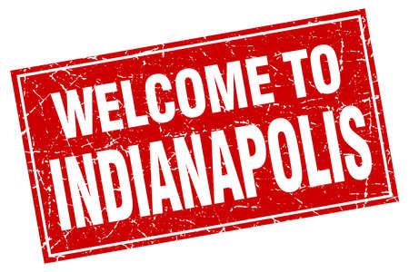 indianapolis: Indianapolis red square grunge welcome to stamp