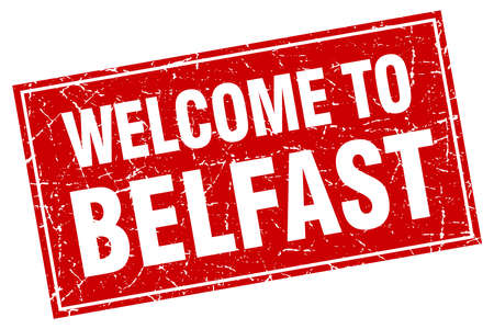 belfast: Belfast red square grunge welcome to stamp Illustration