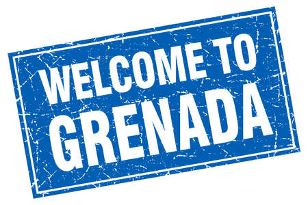grenada: Grenada blue square grunge welcome to stamp