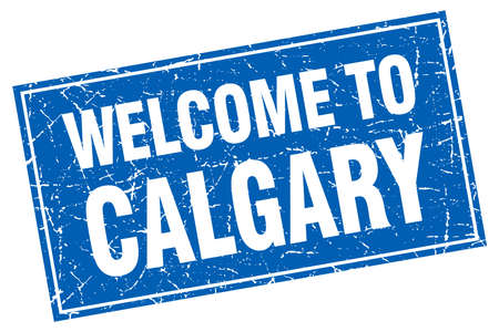 calgary: Calgary blue square grunge welcome to stamp Illustration