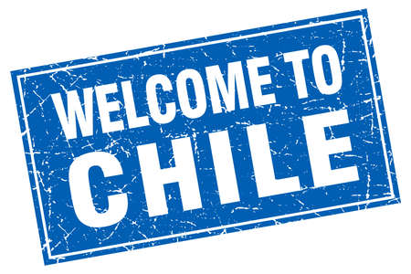 chile: Chile blue square grunge welcome to stamp