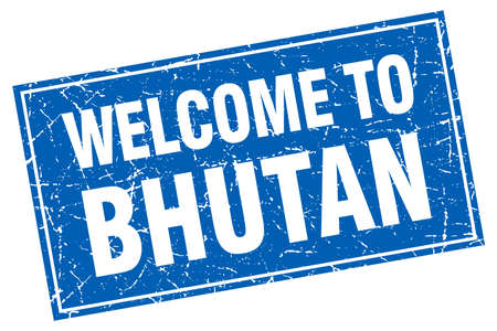 bhutan: Bhutan blue square grunge welcome to stamp