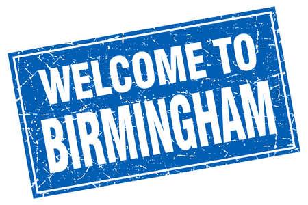 birmingham: Birmingham blue square grunge welcome to stamp