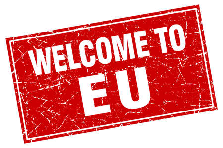 eu red square grunge welcome to stamp
