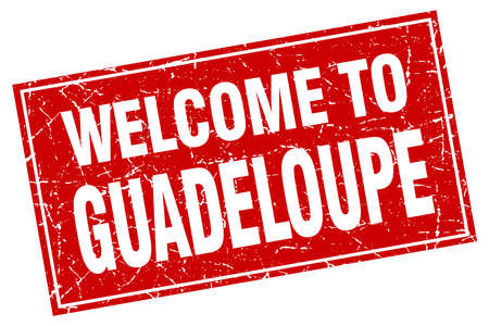 guadeloupe: Guadeloupe red square grunge welcome to stamp