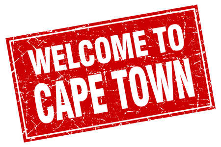 cape town: Cape Town red square grunge welcome to stamp