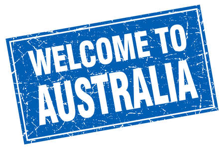 australia stamp: Australia blue square grunge welcome to stamp
