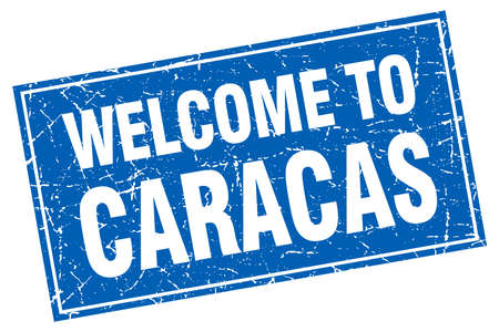 caracas: Caracas blue square grunge welcome to stamp Illustration