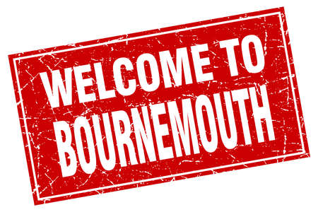 bournemouth: Bournemouth red square grunge welcome to stamp