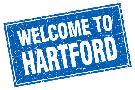hartford: Hartford blue square grunge welcome to stamp Illustration