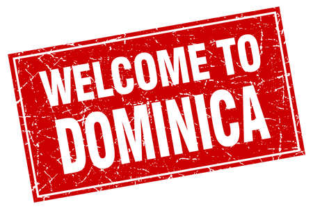 dominica: Dominica red square grunge welcome to stamp