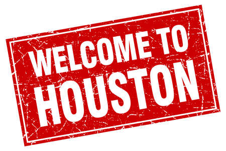 houston: Houston red square grunge welcome to stamp