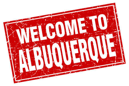 albuquerque: Albuquerque red square grunge welcome to stamp Illustration