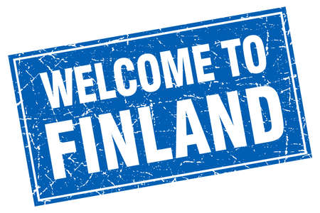 finland: Finland blue square grunge welcome to stamp