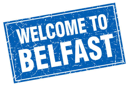belfast: Belfast blue square grunge welcome to stamp