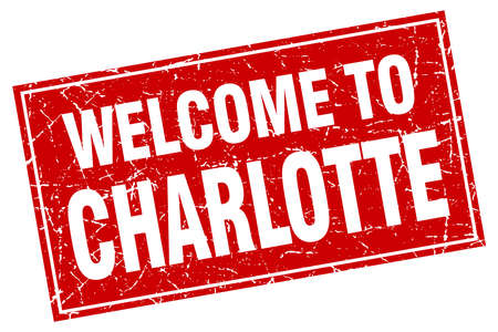charlotte: Charlotte red square grunge welcome to stamp