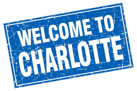 charlotte: Charlotte blue square grunge welcome to stamp