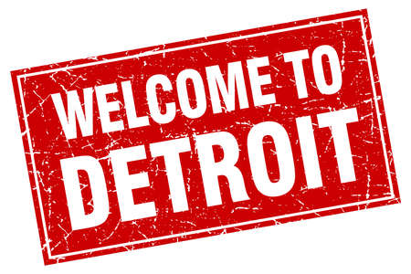 detroit: Detroit red square grunge welcome to stamp Illustration