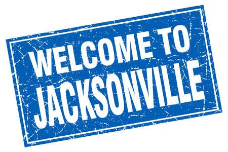 jacksonville: Jacksonville blue square grunge welcome to stamp Illustration