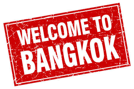 bangkok: Bangkok red square grunge welcome to stamp