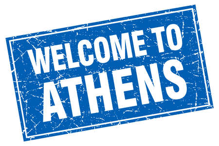 athens: Athens blue square grunge welcome to stamp