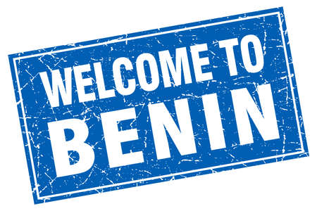 Benin blue square grunge welcome to stamp Illustration