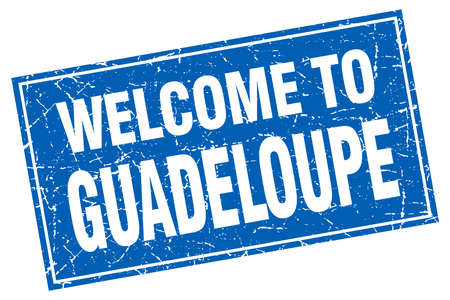 guadeloupe: Guadeloupe blue square grunge welcome to stamp
