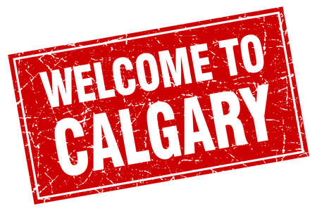 calgary: Calgary red square grunge welcome to stamp Illustration