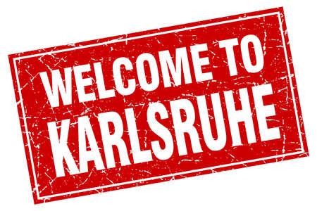 karlsruhe: Karlsruhe red square grunge welcome to stamp