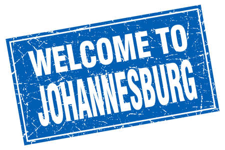 Johannesburg blue square grunge welcome to stamp
